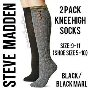 Steve Madden 2pk Knee High Fashion Socks